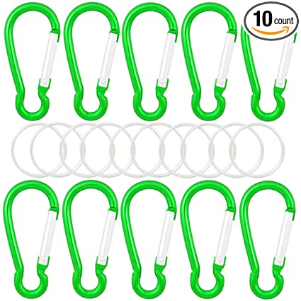 QY 10PCS 1.91 Inch Long Colored Spring Snap Hook Rings Aluminum Alloy Keychain Clip Buckle With Keyring D Shape Qualtiy Yes Accessories