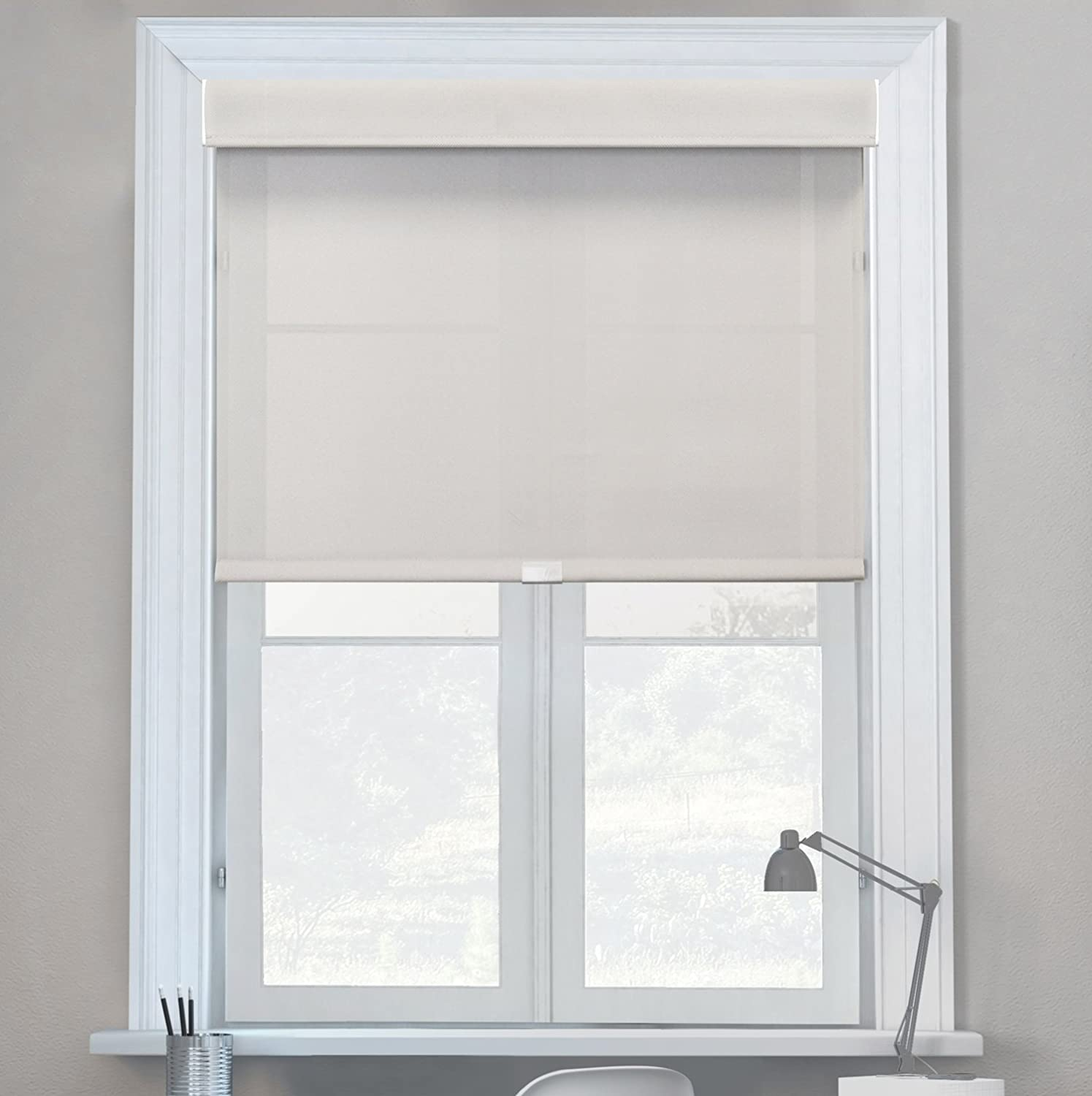 Chicology Free-Stop Cordless Roller Shades - 23W X 72H No Tug Privacy Window Blind Privacy /& Natural Woven Cabana Sand
