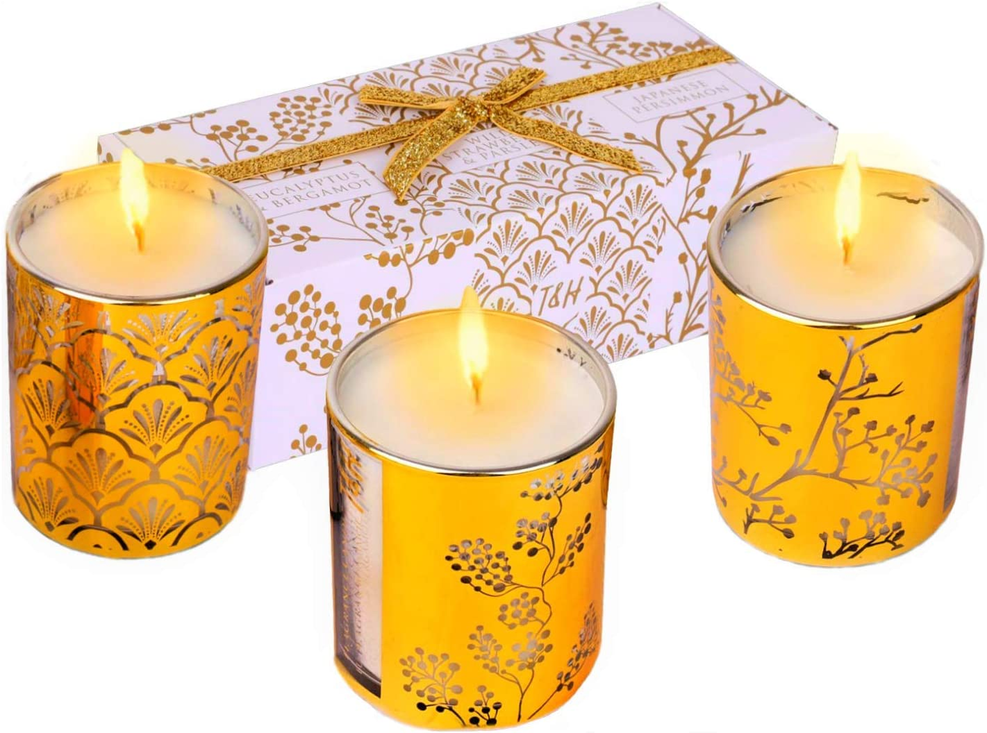 Aromatherapy Candles Gift Set   Gold Glass Candle Gift Sets for Women Relaxation   Highly Scented Soy Candles Gift Box   Pure Soy Candles Gold Decor Accents   Stress Relief Gifts for Coworkers