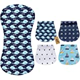 iZiv 4 Pack Baby Burp Cloths Feeding Nursing Towel Accessory, 3 Layers Absorbent Printing Soft Cotton 0-2 Years (Color-4…
