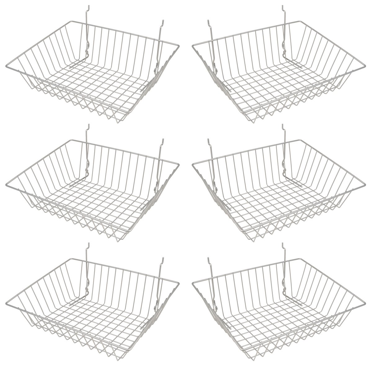 Epoxy Chrome Multi-Fit Sloping Wire Basket for Slatwall,  Pegboard or Gridwall (Set of 6) Metal Semi-Gloss Basket, Epoxy Chrome