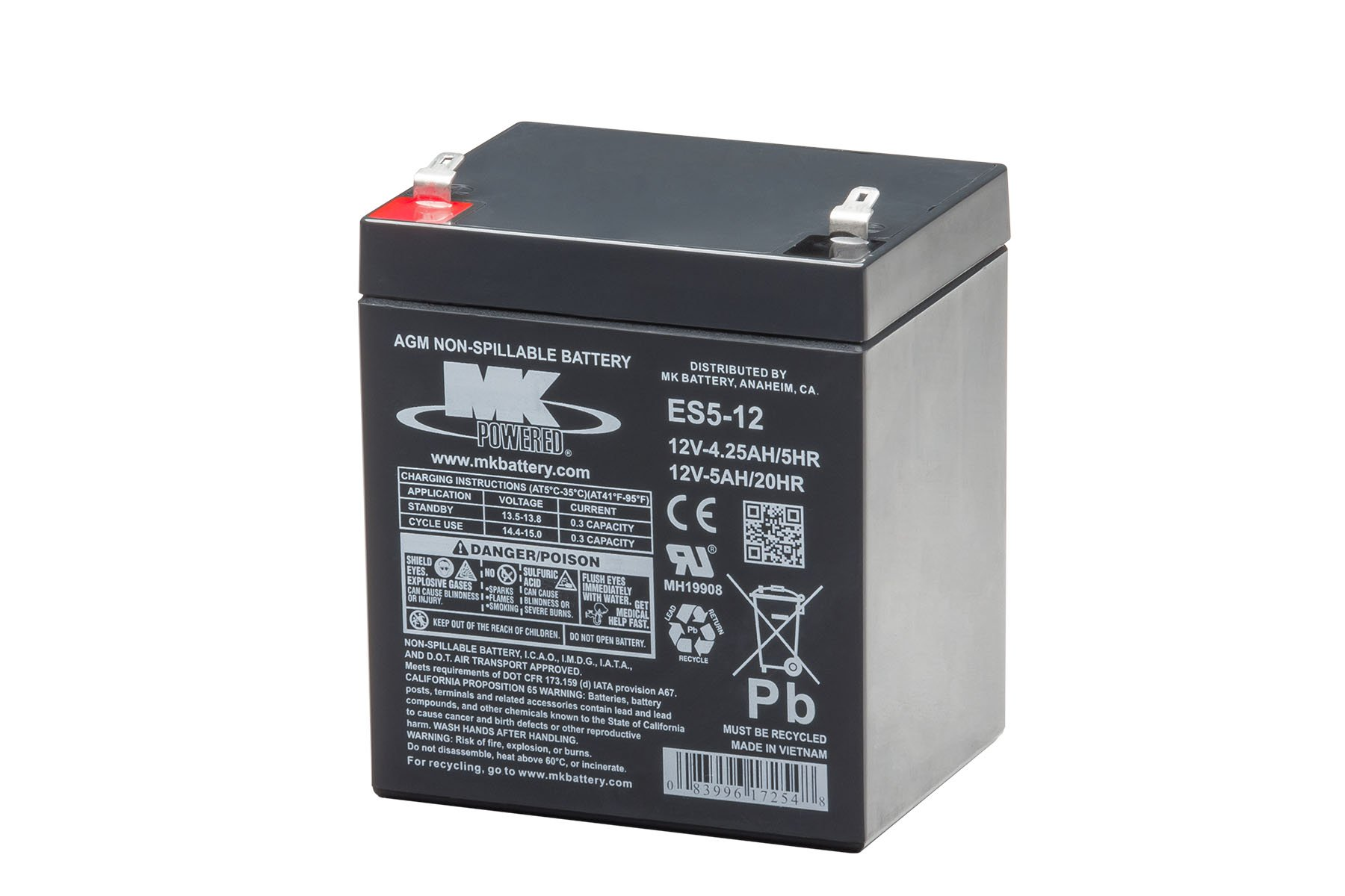 MK Battery ES5-12 Maintenance-Free Rechargeable Sealed Lead-Acid Battery