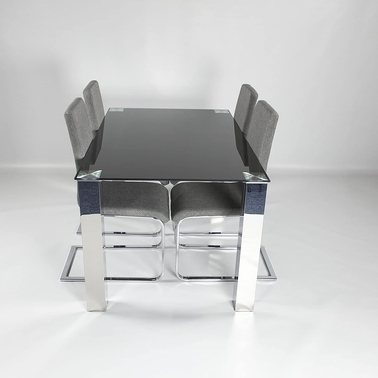 Charles Jacobs Large 6 Person Dining Table with Glass Top and Chrome Legs Choice Of Colours