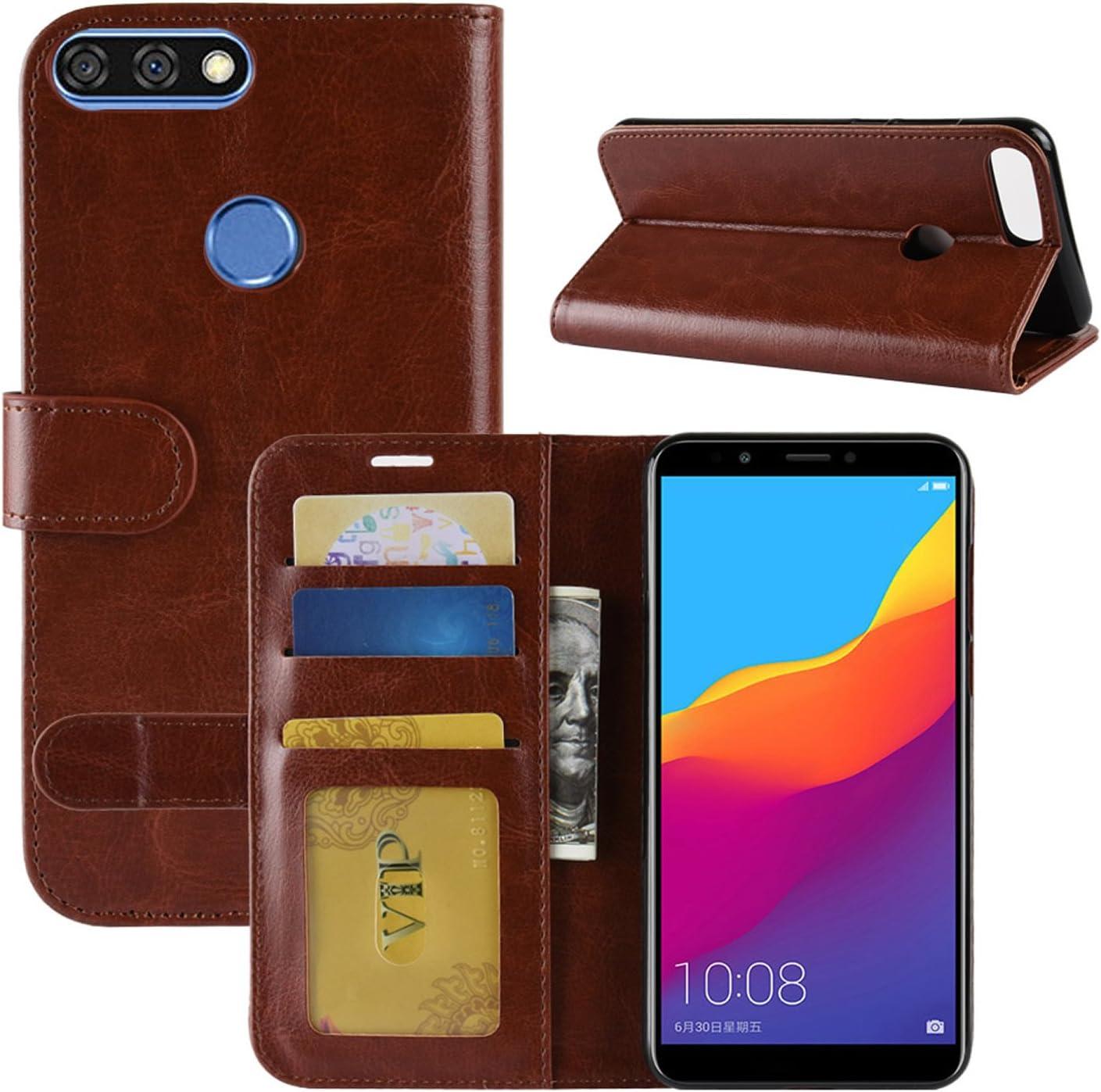 HualuBro Funda Huawei Honor 7C, Retro PU Cuero Leather Billetera ...