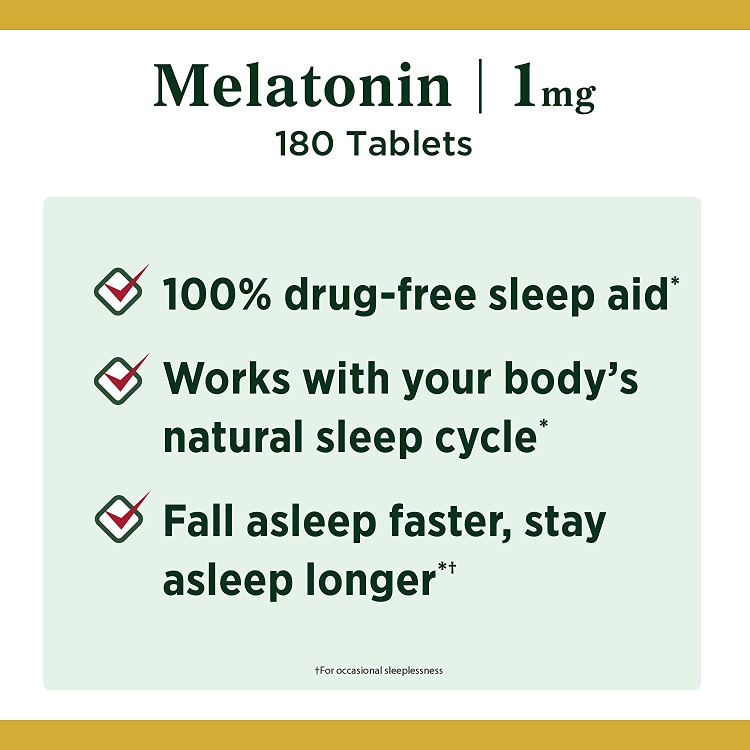 Melatonin by Nature's Bounty, 100% Drug Free Sleep Aid, Dietary Supplement, Promotes Relaxation and Sleep Health, 1mg, 180 Tablets: Health & Personal Care