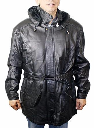 417bcfc3126 Men soft genuine new zealand lamb leather classic 3 4 zipper belted closure  jacket