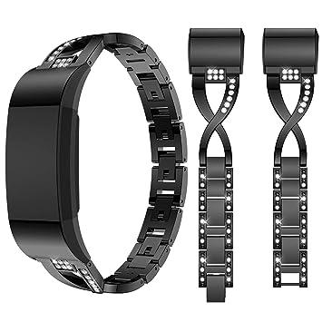 Qianyou Fitbit Charge 2 Bracelet Acier, Fitbit Charge HR Bracelet, Acier Inoxydable Métal de