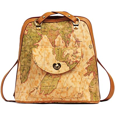 Myleas womens vintage world map pu leather backpack shoulder bag myleas womens vintage world map pu leather backpack shoulder bag satchel gumiabroncs Images