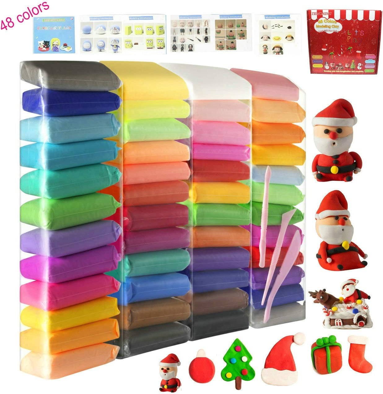 Magic Clay with Tools and Manuals Air Dry Clay 48 Pieces 26.4 Ounce 750 Gram Modeling Clay 48 Colors