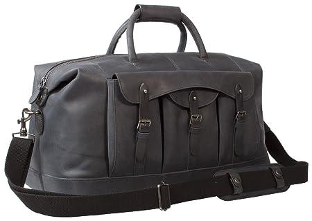 b88c5b47005d Uberbag Gobi Black Graphite Grey Leather Holdall Bag  Amazon.co.uk ...