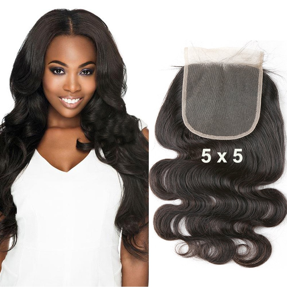 Amazon.com : Sent Hair 5x5 Lace Closure Human Hair with Baby Hair Body Wave  Closure Free Part Bleached Knot Brazilian Virgin Hair Natural Color 18 inch  : Beauty