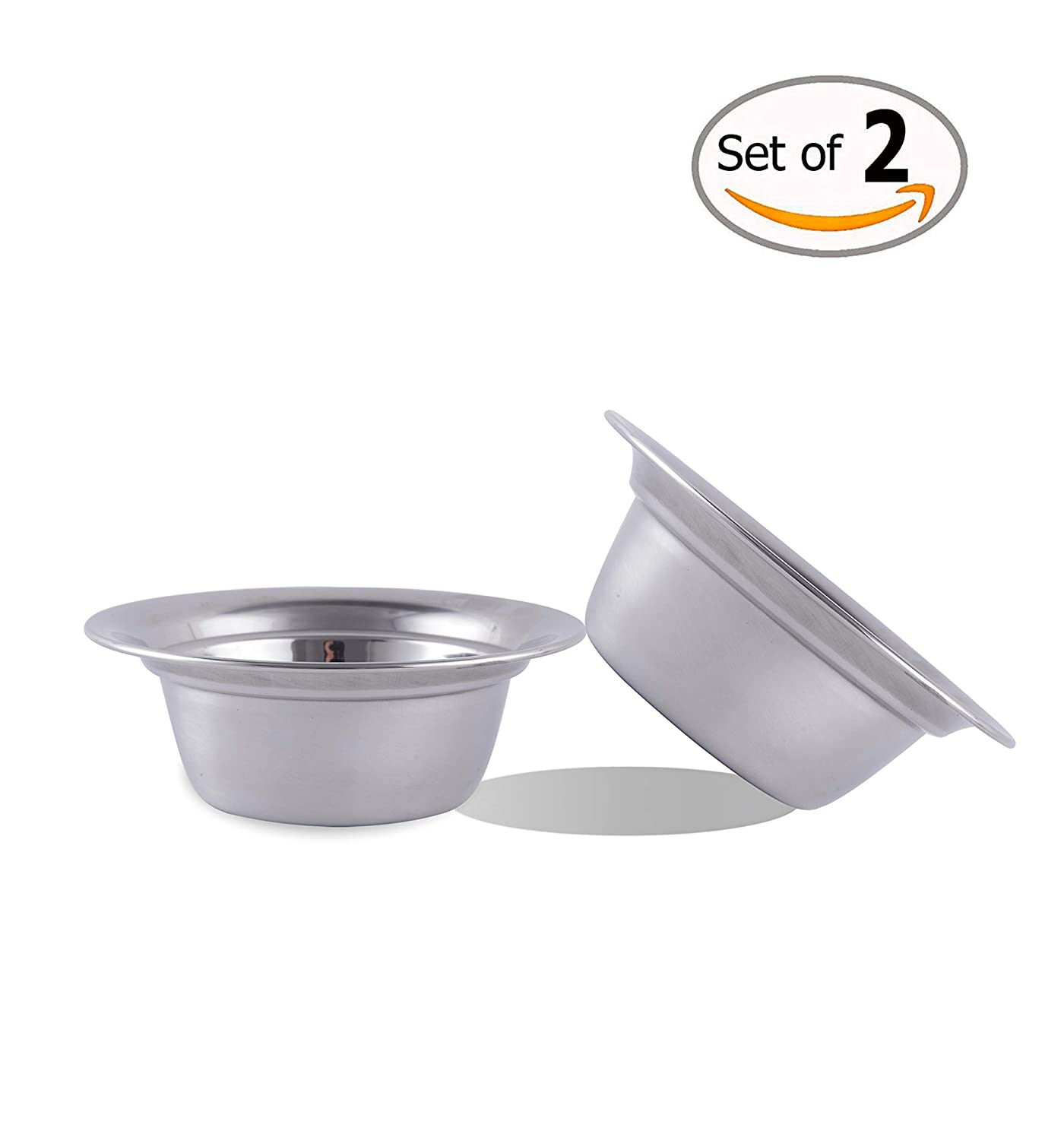 9.4 Inch Global Wansheng 9.4 Inch Pet Bowls, Watering Bowls, Stainless Steel Cat Food Dishes, 2-Pack Dog Food Bowls