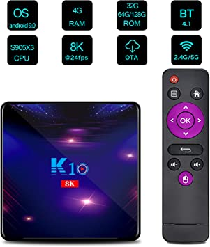 Sofobod K10 TV Box Android 9.0 4GB RAM 128GB ROM 8K H.265 Decoding, WiFi 2.4G/5G BT4.1 Set Top Box: Amazon.es: Electrónica