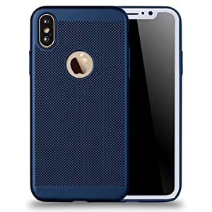 UGY Compatible with iPhone Xs Case, iPhone X Case, Breathable Heat Dissipation TPU Soft Shell Anti-Scratch Protector Cover for Apple iPhone Xs/X - 5.8 inches (Blue)