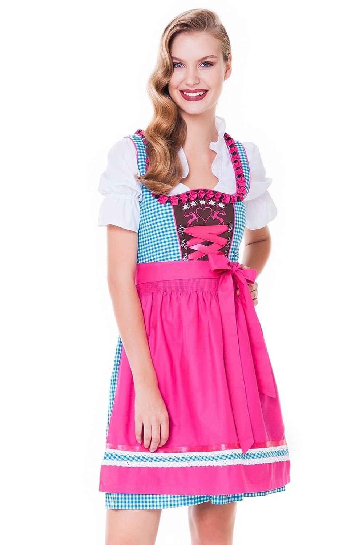 alpen cuento, 3 piezas. tirolesa de Juego - Traje Tradicional vestido, blusa, delantal, tallas 32 - 46, turquesa de color fucsia, ALM 30040: Amazon.es: Ropa ...