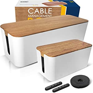2 Pack Large Cable Management Box – Wooden Style Cord Organizer Box and Cover for TV Wires, Computer, Router, USB Hub and Under Desk Power Strip – Safe ABS Material and Baby-Pets Proof Lock