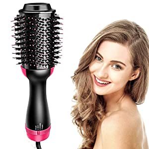 Hair Dryer Brush One Step Hot Air Brush - 4 in 1 Hair Dryer and Volumizer Brush Negative Ionic Salon Hair Straightener and Curler Hot Hair Comb Styling Brush