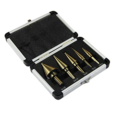HYCLAT 5pcs Titanium Step Drill Bit, Hss Cobalt Multiple Hole 50 Sizes High Speed Metal Steel Step Drill Bit Set with Aluminum Case
