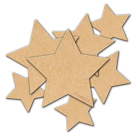 30mm Stars Mdf Wooden Blank Embellishment Decoration Pack Of 50