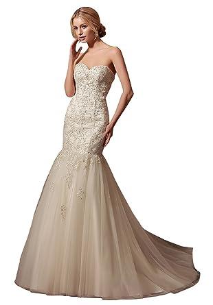 10c120c56c2 Amore Bridal Sweetheart Low Back Corset Chiffon Sweep Train Wedding Dress  US2 Ivory