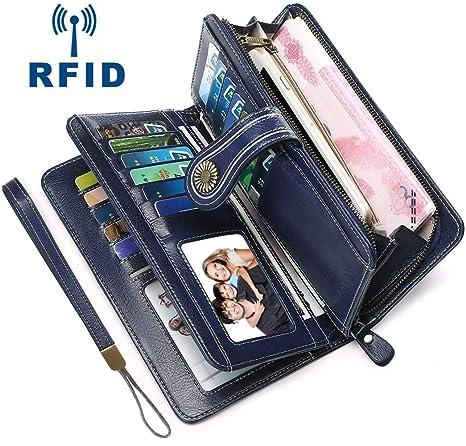 Faneam Carteras Piel Mujer RFID Carteras Mujer con Cremallera Bolsillo & 26 Ranuras para Tarjetas,