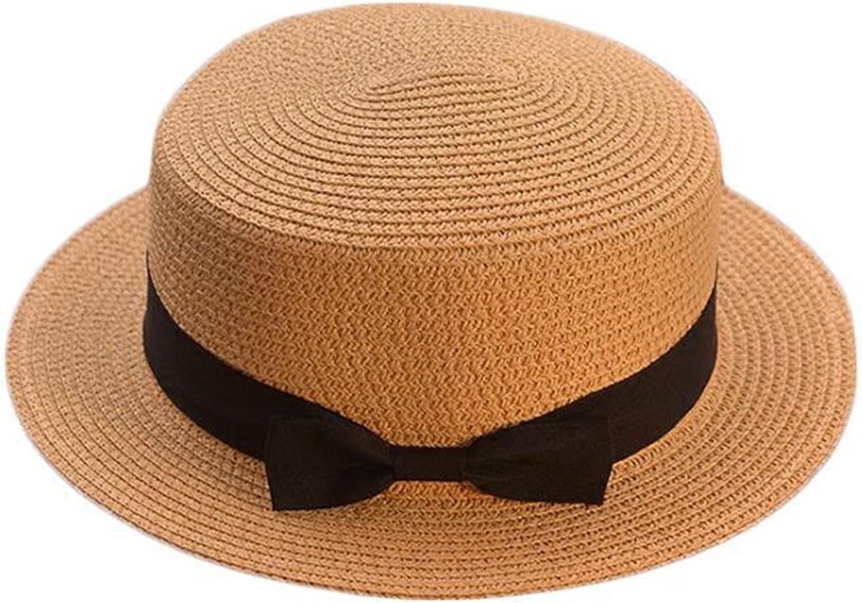 Parent-Child Sun Hat Bow Hand Made Women Straw Cap Beach Casual Girls Summer Cap,3,Child Size 50-52Cm