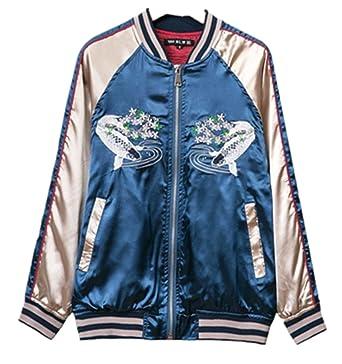 purchase cheap 259b2 72feb crazycatz@ Damen Stickerei Bomberjacke Pilotenjacke Retro Fliegerjacke  Daunenjacke Jacke Satin Collegejacke Bomber …