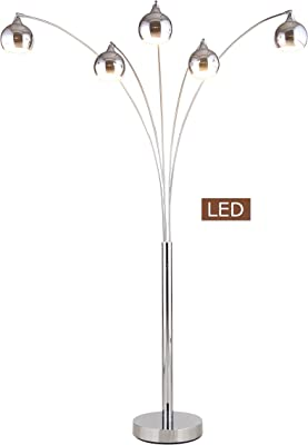 Rivet 5 Arm Brass And Marble Arc Lamp 89 Quot H With Bulbs