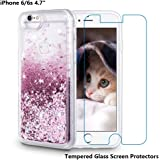 iPhone 6 Case, iPhone 6S Case, Maxdara [Tempered Glass Screen Protector] Protective Glitter Liquid Defender Bumper Case for Girls Children Floating Bling Sparkle Quicksand Case 4.7 inch