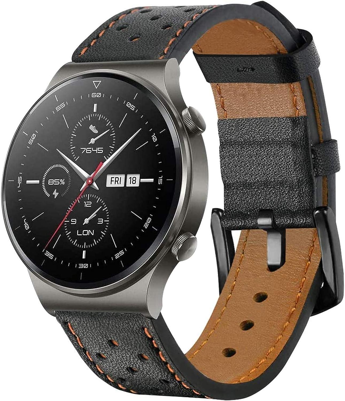 SPGUARD Correa Compatible con Correa Huawei Watch GT2 46mm Huawei Watch GT 2e Correas,Pulsera de Repuesto de Cuero de 22mm para Huawei GT2 46mm/Huawei GT 2e/Huawei Watch GT 46mm-Marrón