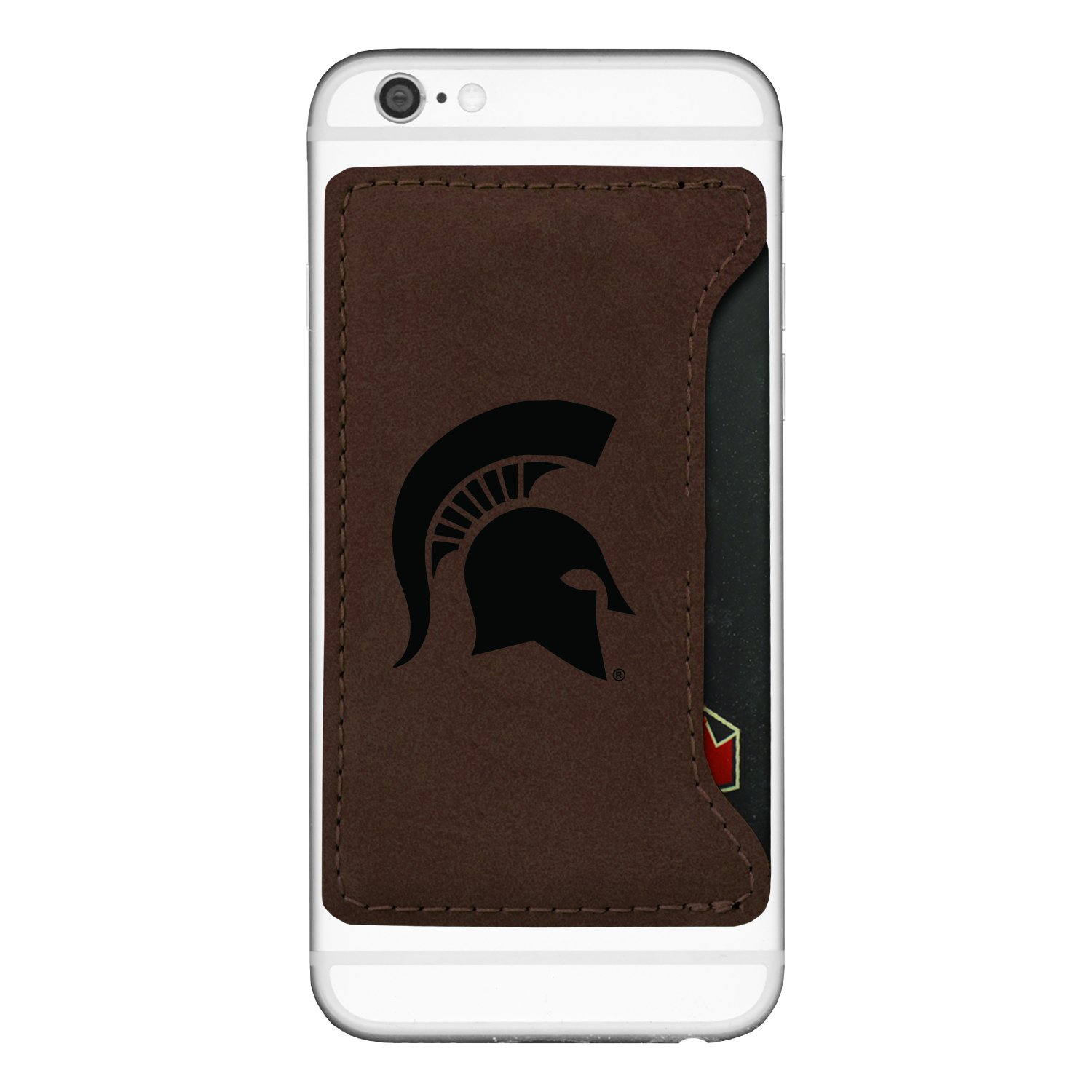 amazon com michigan state university cell phone card holder brown