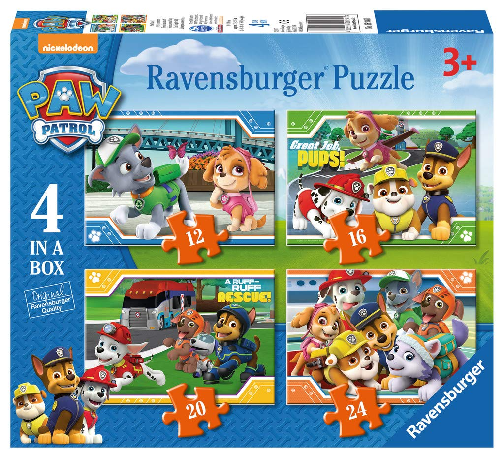 Ravensburger 6936 Paw Patrol-4 in Box (12, 16, 20, 24 Piece) Jigsaw Puzzles for Kids Age 3 Years and up