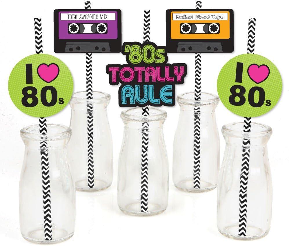 80's Retro - Paper Straw Decor - Totally 1980s Party Striped Decorative Straws - Set of 24