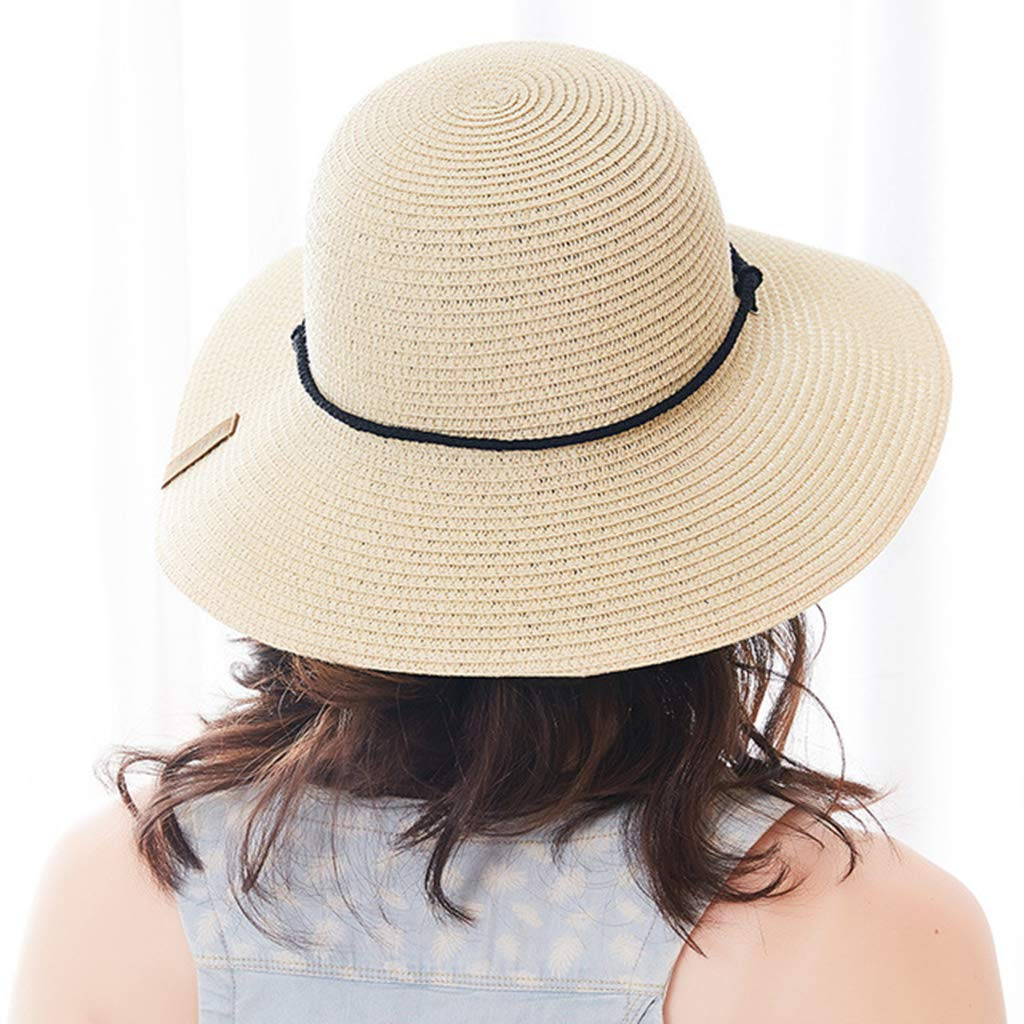 EAPTS Womens Summer Braided Straw Beach Sun Hat Wide Brim UPF 50 Sunscreen Bandage Decor Solid Color Bucket Cap with Wind Lanyard