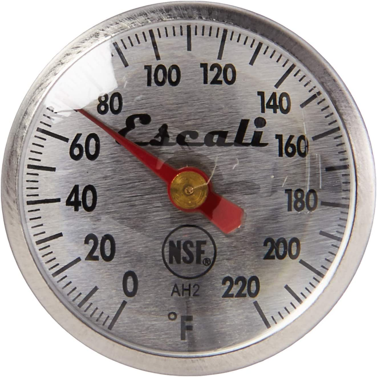 Escali AH2 NSF Certified Commercial Instant Read Small Dial Thermometer, Antimicrobial Protective Sheath, Silver