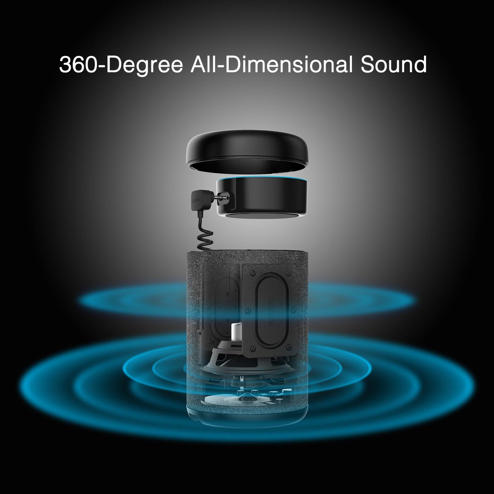 GGMM D6 Portable Speaker for Amazon Echo Dot 2nd Generation, 20W Powerful True 360 Alexa Speakers (DOT SOLD SEPARATELY) by GGMM (Image #3)