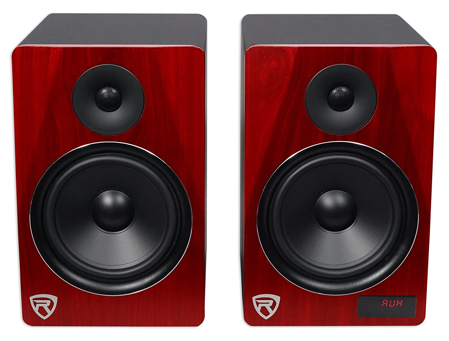 Rockville Hts8c Pair 8 1000w Powered Home Theater Loudspeaker System Crossover Network Speaker Protection Circuit Speakers Bluetooth Fm Usb Sd Audio