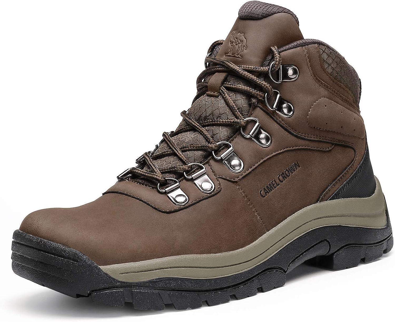 CAMEL CROWN Botas de Senderismo para Hombre, Zapatos de Senderismo Antideslizante Botas de Invierno para Trekking Deportes Exterior Viajar Escalada Zapatos de Trabajo Negro Marrón 41-46