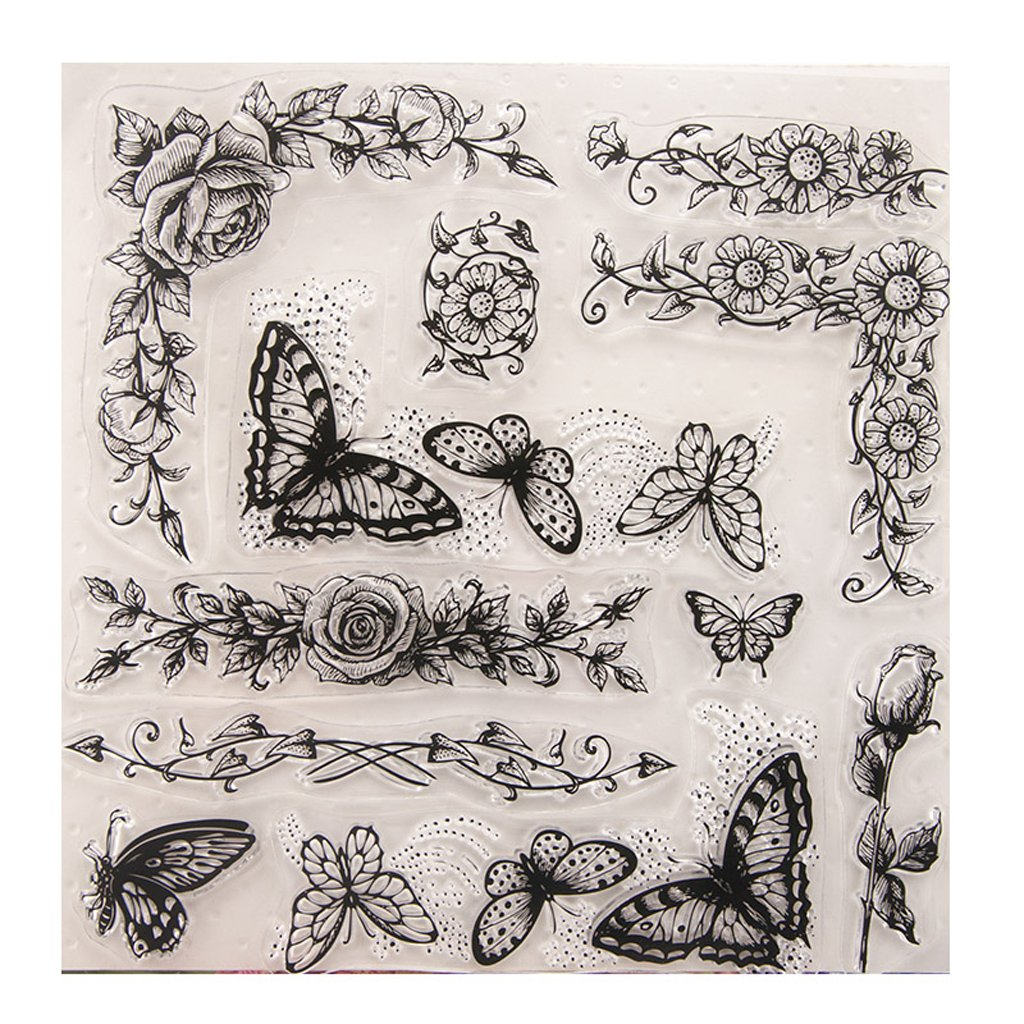 Fucung 1pcs Butterfly Pattern Clear Stamps Cutting Dies Scrapbook Card Paper Craft FC FC-09