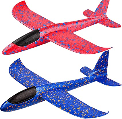 """Amazon.com: BooTaa 2 Pack Airplane Toys, 17.5"""" Large Throwing Foam Plane, 2  Flight Mode Glider Plane, Flying Toy for Kids, Gifts for 3 4 5 6 7 Year Old  Boy, Outdoor Sport"""