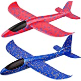"BooTaa 2 Pack Airplane Toys, 17.5"" Large Throwing Foam Plane, 2 Flight Mode Glider Plane, Flying Toy for Kids, Gifts for 3 4"