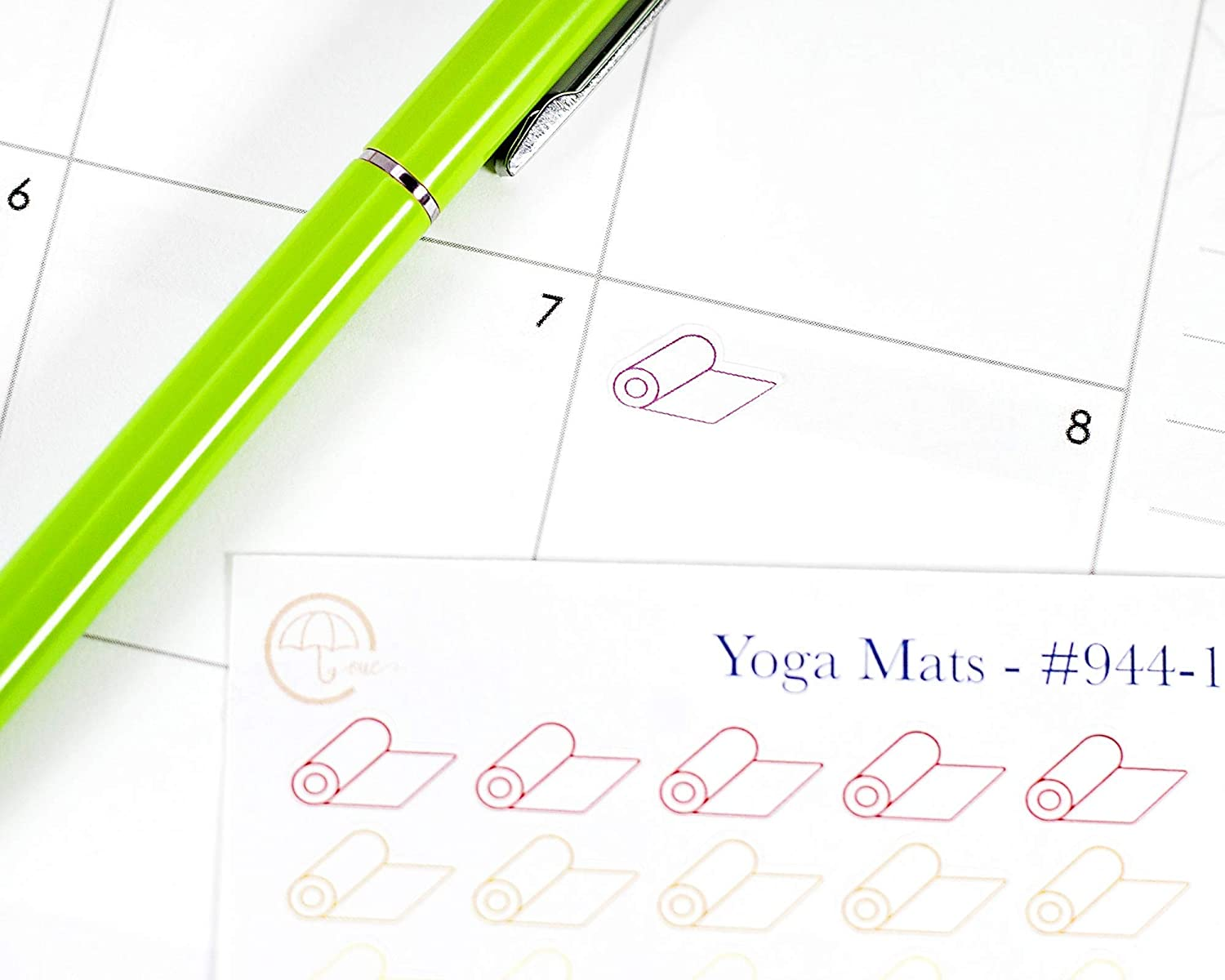 Rainbow Color Stickers for Tracking Yoga Yoga Tracking #944-003-051-WH Yoga Mat Planner Stickers