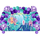 Mermaid Birthday Party Supplies Decorations, Mermaid Backdrop with Balloons Kit for Child's Birthday, Under The Sea Party Decorations, Photo Booth Backdrop