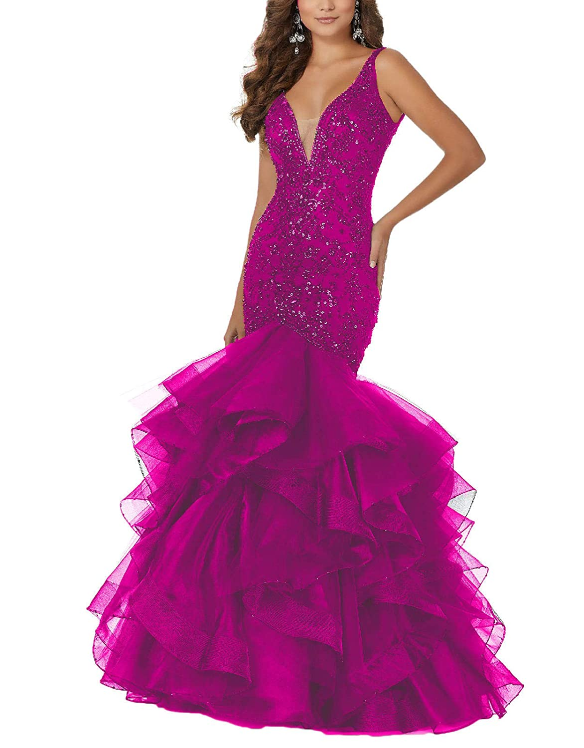 8746a7c0851a pink Yisha Bello Womens Sequins VNeck Mermaid Prom Gowns Long Tulle Beaded Evening  Formal Party Dress. RSTJSjcw Women's 3in1 TwoPiece ...