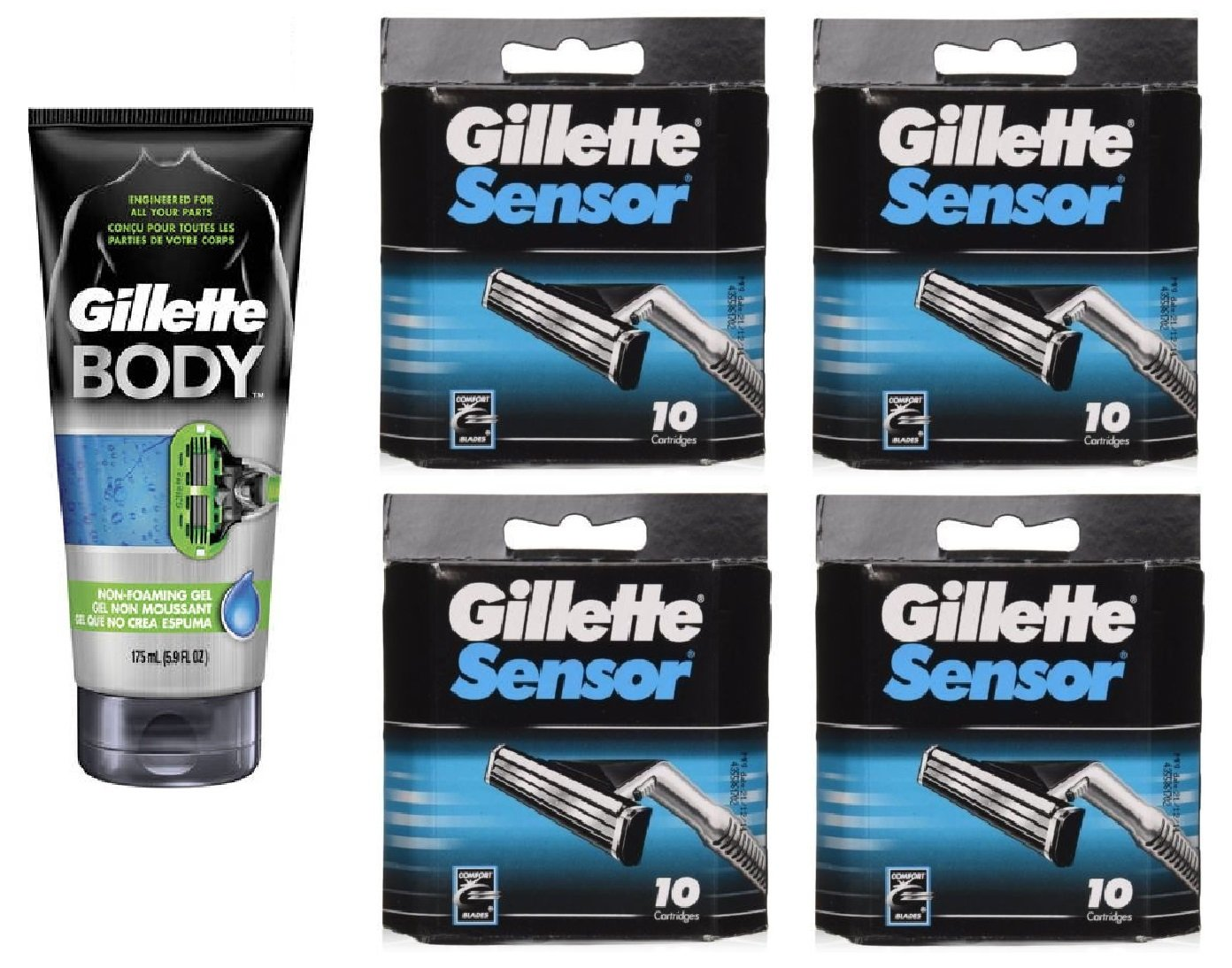 Gillette Body Non Foaming Shave Gel for Men, 5.9 Fl Oz + Sensor Refill Blades 10 Ct. (4 Pack) + FREE Luxury Luffa Loofah Bath Sponge On A Rope, Color May Vary