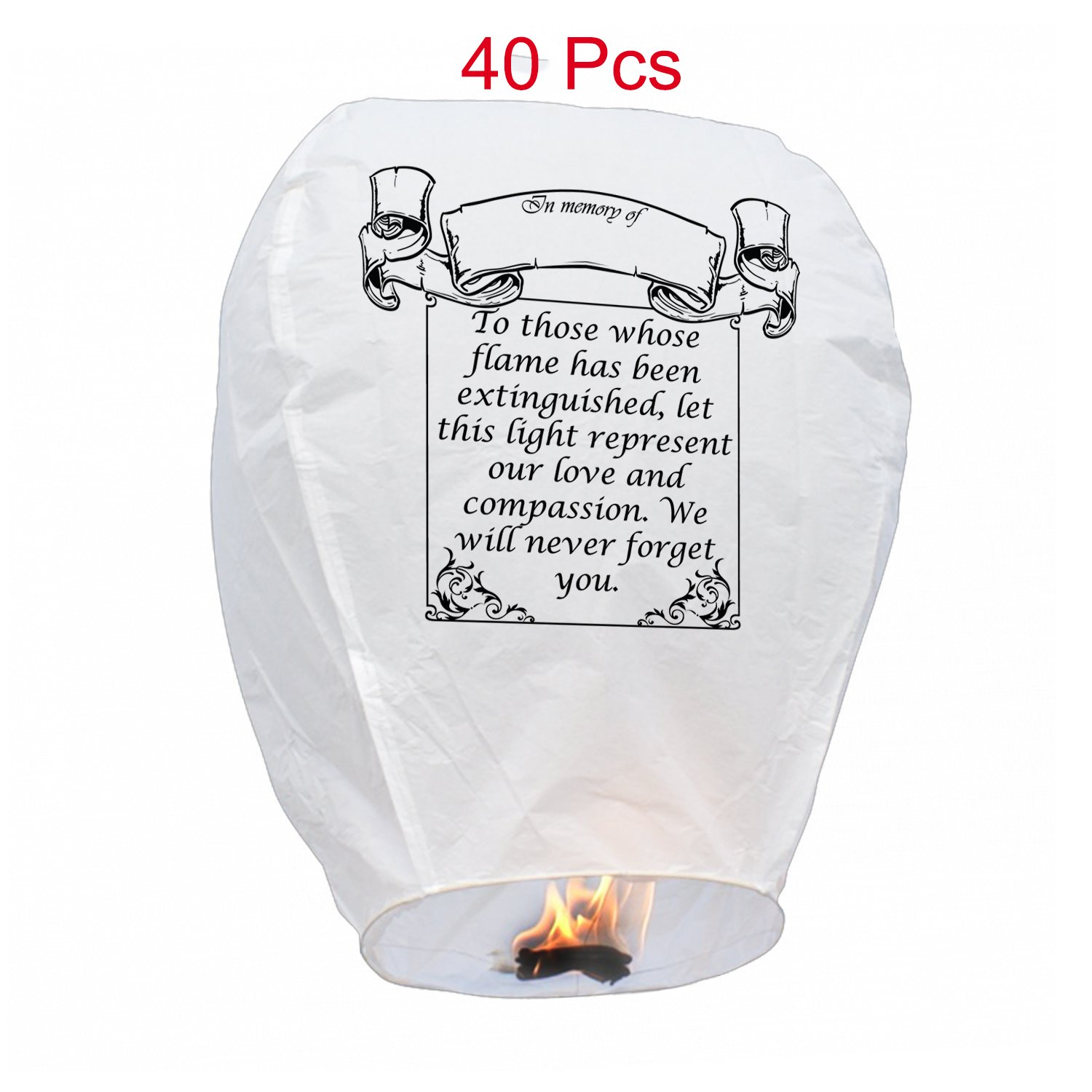 40 PCS White Sky Lanterns Biodegradable-Flying Wish Lights (40) by RMBD