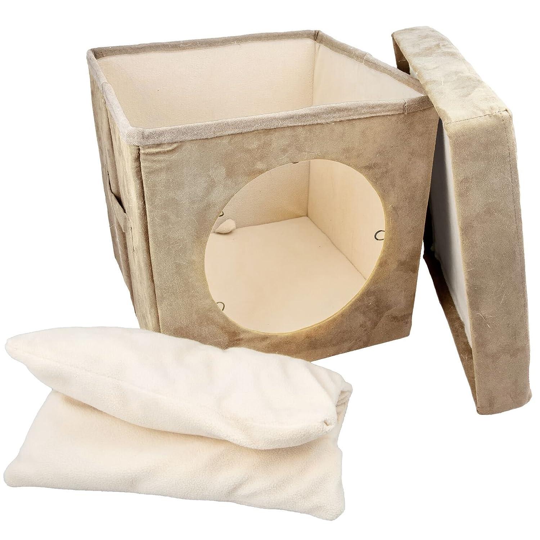 Kitty Zen Den Cat Hideaway - Se recomienda utilizar como una cómoda cama cubierta para gatos,cálida esterilla y cama para gatos. 100 % suave y adecuado para ...