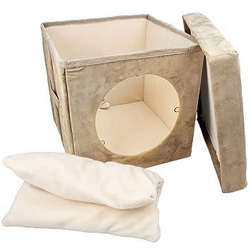Kitty Zen Den Cat Hideaway – Se recomienda utilizar como una cómoda cama cubierta para gatos