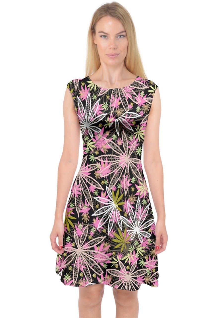 PattyCandy Womens Awesome Dark Cannabis Marijuana Capsleeve Midi Dress, XS-3XL