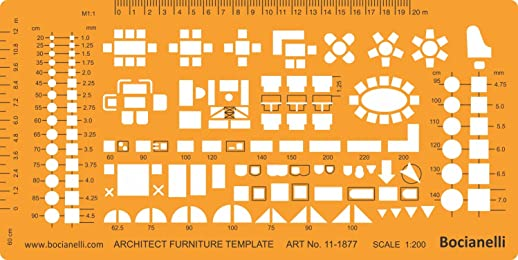 1:200 Scale Architectural Drawing Template Stencil - Architect Technical Drafting Supplies - Furniture Symbols for House Interior Floor Plan Design